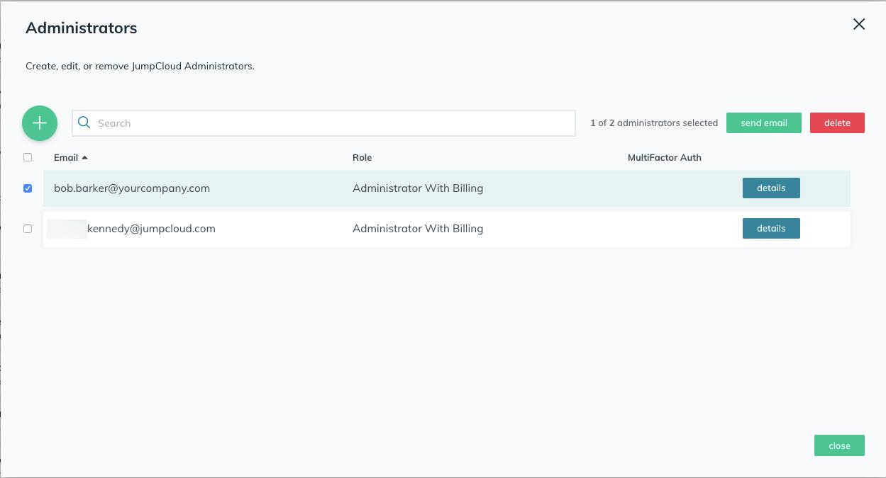 JumpCloud | Managing JumpCloud Administrator Account