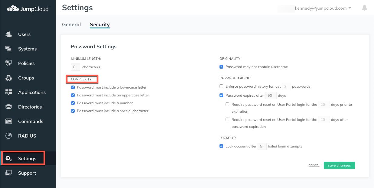 JumpCloud   Security Settings